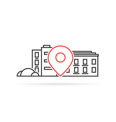 thin line house geo location pinpoint vector image
