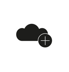 add to cloud black icon vector image vector image