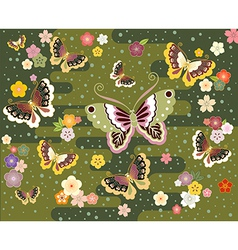Butterflies in the Japanese style vector image vector image