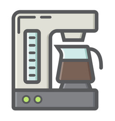 Coffee maker colorful line icon kitchen appliance vector