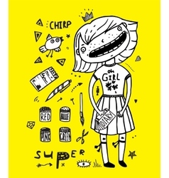 Little princess girl drawing girlish paints and vector