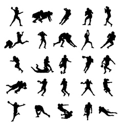 American Football Black Silhouettes vector image
