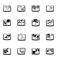 black schoolbooks icon set vector image