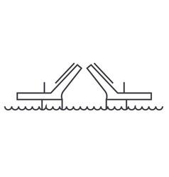 bridgesdrawbridges line icon sign vector image