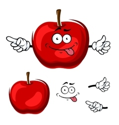 Cartoon isolated red apple fruit vector image vector image