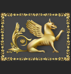 emblem with golden gryphon vector image