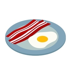 fried egg with bacon isometric 3d icon vector image