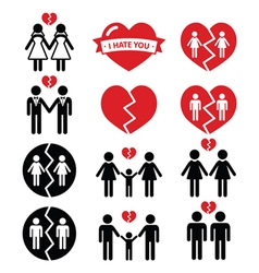 Gay or lesbian Couple breakup divorce icon vector image