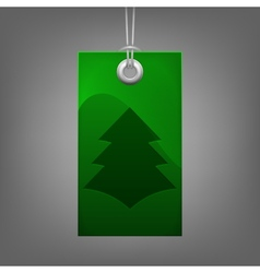 Green price tag with Christmas tree vector image