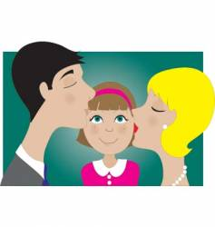 parents and child kiss vector image vector image