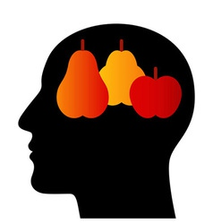 Silhouette of a head with fruits vector image vector image