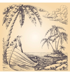 Boat on sea shore tropical island and palm tree vector image vector image