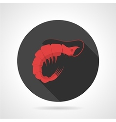 Red prawn black round icon vector image