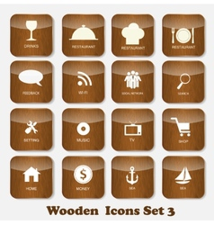 Wooden Application Icons Set vector image vector image