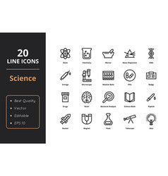 20 science line icon vector image