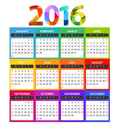 2016 year color calendar template vector image