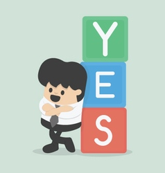 a businessman with YES vector image
