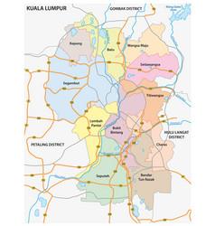 administrative and road map kuala lumpur vector image