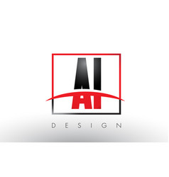 Ai a i logo letters with red and black colors and vector