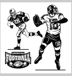 American football players in action isolated vector