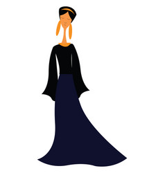 an elegant lady wearing a long blue vintage-style vector image