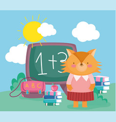back to school cute fox teacher with chalkboard vector image