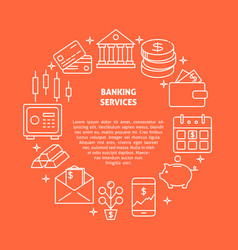 banking services round concept in line style vector image