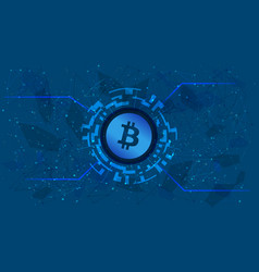 Bitcoin token symbol in a digital circle vector