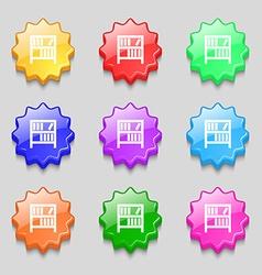 Bookshelf icon sign Symbols on nine wavy colourful vector