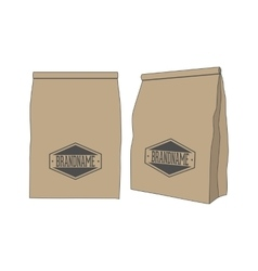 Brown paper package bag for your label or product vector