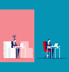 Business man with easy and stressful work concept vector