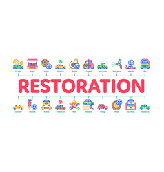 Car restoration repair minimal infographic banner vector
