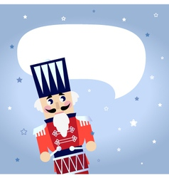 Cartoon christmas Nutcracker with blank bubble vector image vector image