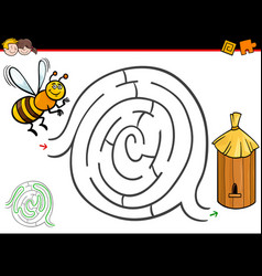 Cartoon maze activity with bee and hive vector