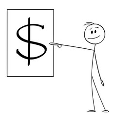 cartoon smiling man or businessman pointing at vector image