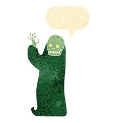 Cartoon waving halloween ghoul with speech bubble vector