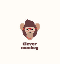 Clever monkey sign emblem or logo template vector