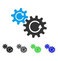 Cogs rotation flat icon vector
