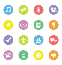 Colorful simple flat icon set 5 on circle vector