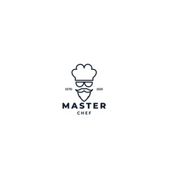 Cool chef with sunglasses logo design vector
