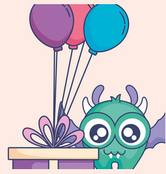 Crazy monster with gift and balloons helium vector