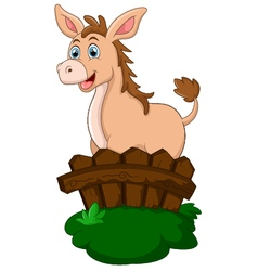 Cute donkey behind fence vector
