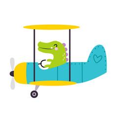 Cute green crocodile flying on airplane vector