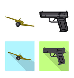 Design of weapon and gun icon set of vector