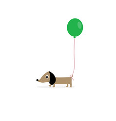 dog with a green balloon vector image