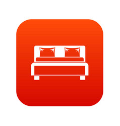 Double bed icon digital red vector