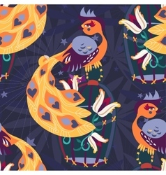 Exotic tropical bird on cage seamless pattern vector