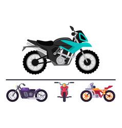 Fashionable bike models set motorcycles motorbikes vector