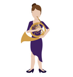 female avatar playing the horn vector image