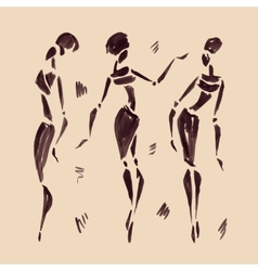 Figures of african dancers Hand drawn vector